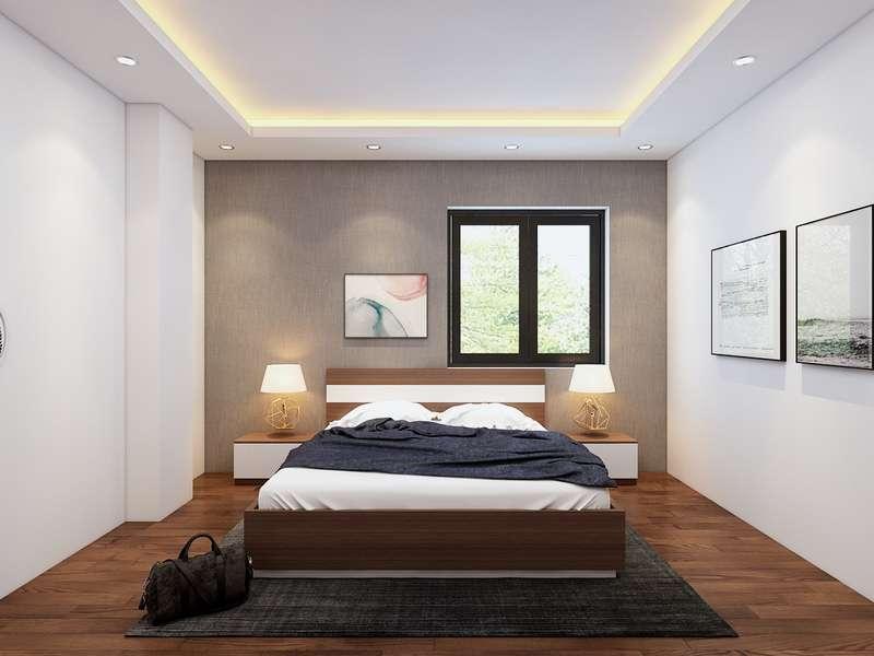 Chiếc giường ngủ bằng gỗ đơn giản kết hợp với những ngăn kéo nhỏ tiện lợi