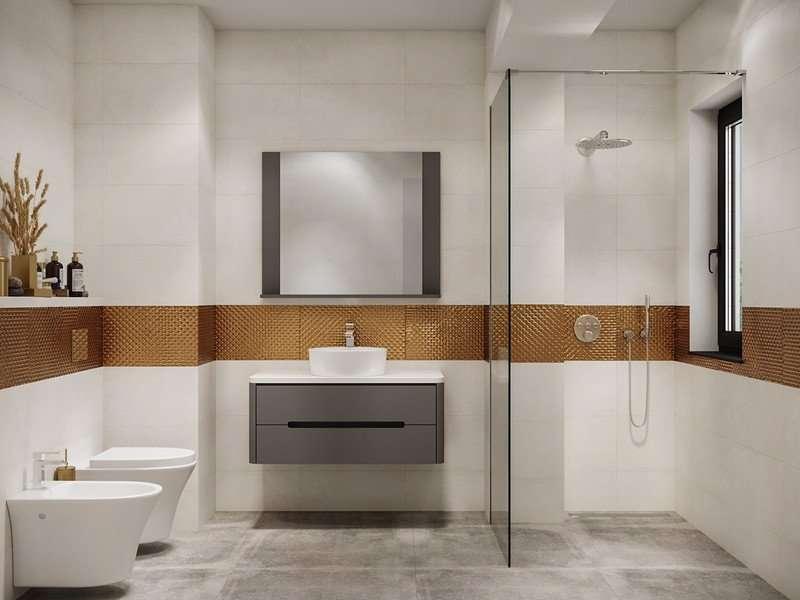 Phòng tắm theo phong cách thiết kế nội thất hiện đại nhưng cũng mang hơi hướng truyền thống
