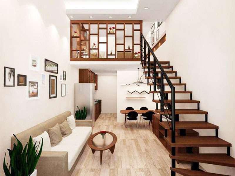 Hành lang nhỏ được sơn tông màu trắng nên khiến không gian trở nên rộng rãi và sáng rõ, những món nội thất nhỏ mang hình khối không gian trở thành điểm nhấn thú vị nhưng cũng thể hiện rõ nét đặc trưng của phong cách thiết kế nội thất hiện đại tối giản