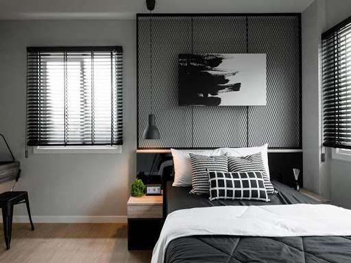 Căn phòng ngủ đơn giản đến không ngờ nhưng màu sắc của căn phòng tạo hiệu ứng cảm xúc rất tốt